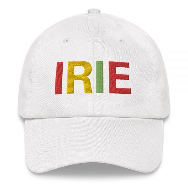Irie Rasta Dad Hat in white with embroidered letters in the Rasta colors. Rasta hats and caps. This one's got a low profile with an adjustable strap.Rasta Gear Shop original clothing hats and merchandise.