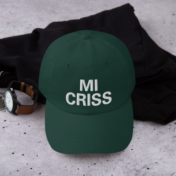Mi Criss Dad Hat in forest green. Jamaican Patois embroidered cap. Dad hats aren't just for dads. This one's got a low profile with an adjustable strap and curved visor. Rasta Gear Shop original Rastafarian, Reggae and Jamaican merchandise, hats, clothing and shoes.