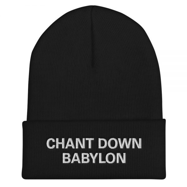 Chant Down Babylon Rasta beanie in black. A snug, form-fitting beanie. It's not only a great head-warming piece but a staple accessory in anyone's wardrobe. Rasta Gear Shop Original Rastafarian, Jamaican and Reggae Designs on Merchandise and Clothing