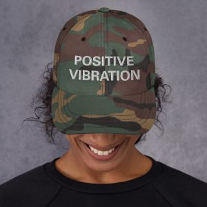 Positive Vibration Dad Cap in camouflage military style. Rastagearshop original embroidered designs