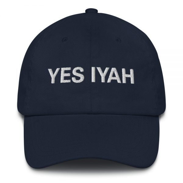 Yes Iyah Dad Hat in navy blue. Jamaican Rasta Dad hats aren't just for dads. This one's got a low profile with an adjustable strap and curved visor. Rasta Gear Shop Original Rastafarian, Jamaican and Reggae Designs on Merchandise and Clothing.
