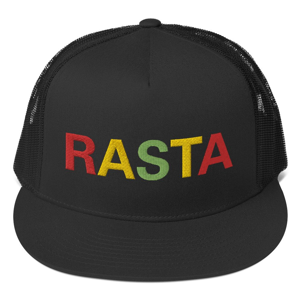 Rasta trucker cap in black. Classic style with a cool fabric blend. Rastagearshop original design embroidered in the rasta colors.