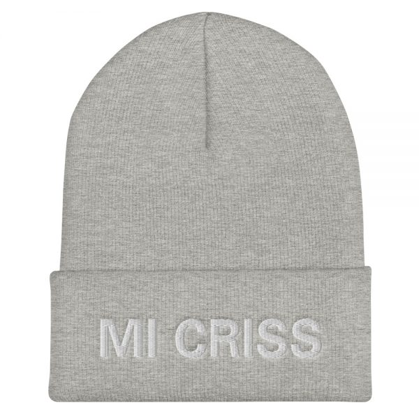 Mi Criss cuffed beanie in grey. Embroidered Jamaican Patois letter. A snug, form-fitting beanie. It's not only a great head-warming piece but a staple accessory in anyone's wardrobe. Rasta Gear Shop quality Jamaican Merchandise, Hats and Clothing.