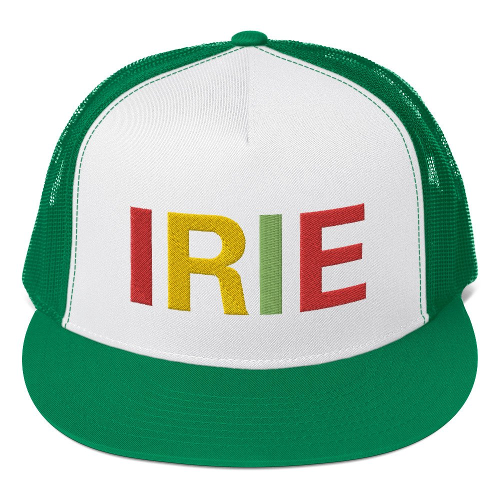 Irie Rasta trucker cap classic style green and white with a cool fabric blend. Original Rasta Gear Shop Jamaican Reggae and Rastafarian Designs on clothing and merchandise.