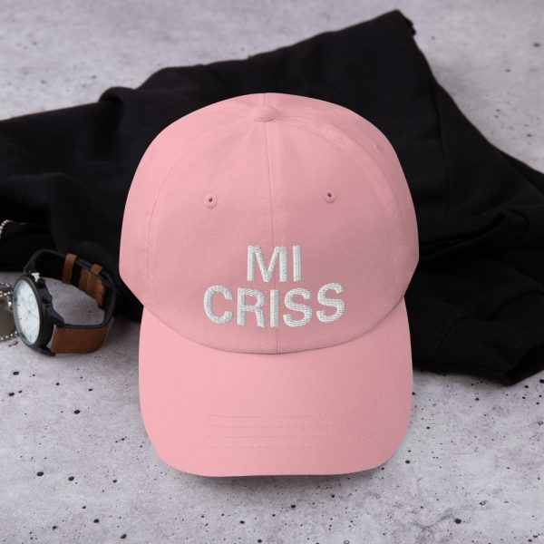 Mi Criss Dad Hat in pink. Jamaican Patois embroidered cap. Dad hats aren't just for dads. This one's got a low profile with an adjustable strap and curved visor. Rasta Gear Shop original Rastafarian, Reggae and Jamaican merchandise, hats, clothing and shoes.
