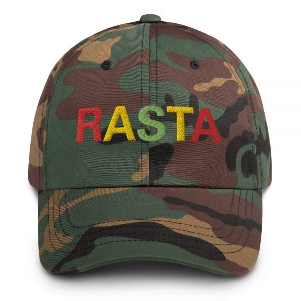 Rasta Dad camouflage military style. These reggae caps aren't just for dads. Original design embroidered in the Rasta Colors.
