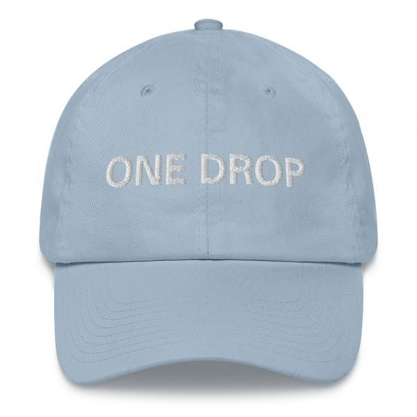 One Drop Dad hat in baby blue. These reggae caps aren't just for dads. This one's got a low profile with an adjustable strap and curved visor. Rasta Gear Shop quality reggae, Rastafarian and Jamaican Patois clothing hats and merchandise