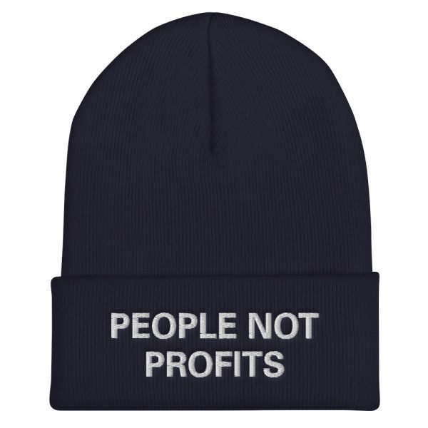 People not Profits beanie. Rasta beanie in navy blue. Chant down Babylon Protect Old Growth Forests, manage water and conserve soil.