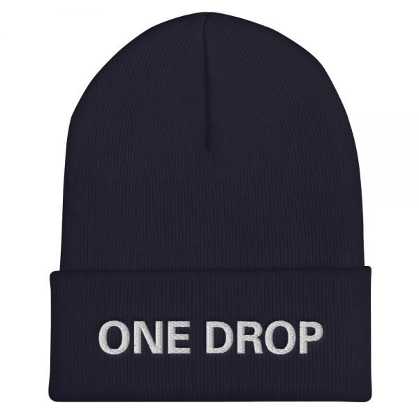 One Drop Reggae cuffed beanie in navy blue at Rastagearshop. Embroidered reggae beanie in a snug, form-fitting style. Original Rasta Merchandise Hats and Clothing.