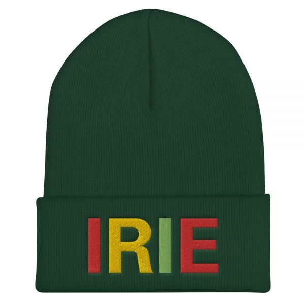 Irie Rasta cuffed beanie in forest green with embroidered irie slogan in rasta colors. A snug, form-fitting beanie. Reggae and Jamaican Rasta hat.