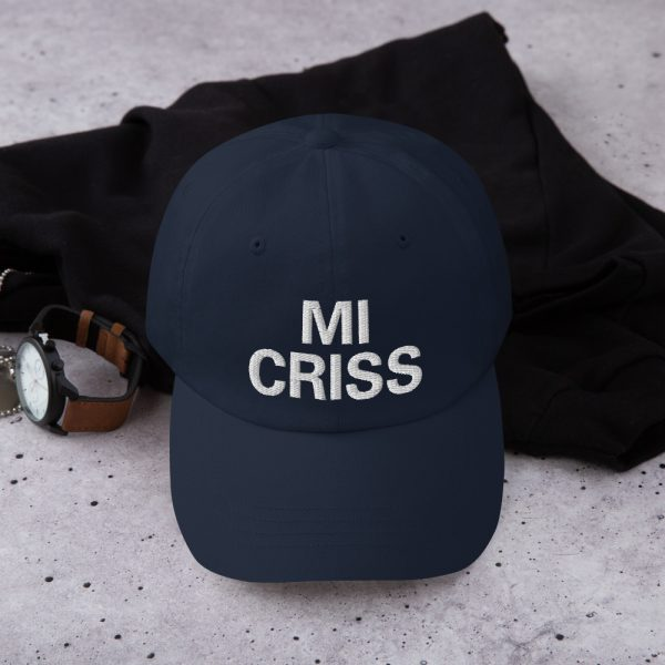 Mi Criss Dad Hat in navy blue. Jamaican Patois embroidered cap. Dad hats aren't just for dads. This one's got a low profile with an adjustable strap and curved visor. Rasta Gear Shop original Rastafarian, Reggae and Jamaican merchandise, hats, clothing and shoes.