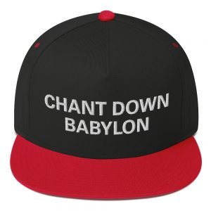 Chant Down Babylon Flat Bill Cap in red and black cotton twill. The high-profile fit and a green under-visor make this rasta cap a classic with an added pop of color. Rasta Gear Shop Original Rastafarian, Jamaican and Reggae Designs on Merchandise and Clothing.