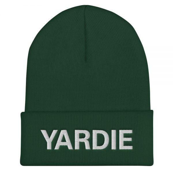 Yardie Cuffed Beanie in forest green. A snug, Jamaican Patois hat. Rasta Gear Shop original reggae Jamaican and Rastafarian Designs on merchandise.