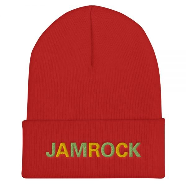 Jamrock Jamaican Rasta Beanie in red. A snug, form-fitting beanie. It's not only a great head-warming piece but a staple accessory in anyone's wardrobe. Rasta Gear Shop Original Rastafarian Reggae Jamaican Designs on clothing and Merchandise.
