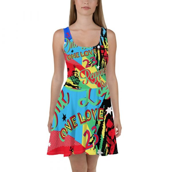 One Love Reggae Party Rasta Skater Dress in vibrant colors at Rasta Gear Shop