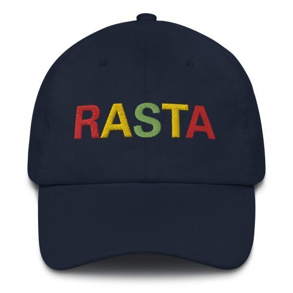 Rasta Dad hat in navy blue. These reggae caps aren't just for dads. Original design embroidered in the Rasta Colors.