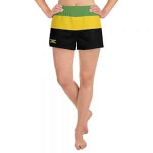 Jamaican Women's Athletic Short Shorts at Rastagearshop merchandise clothing and shoes.