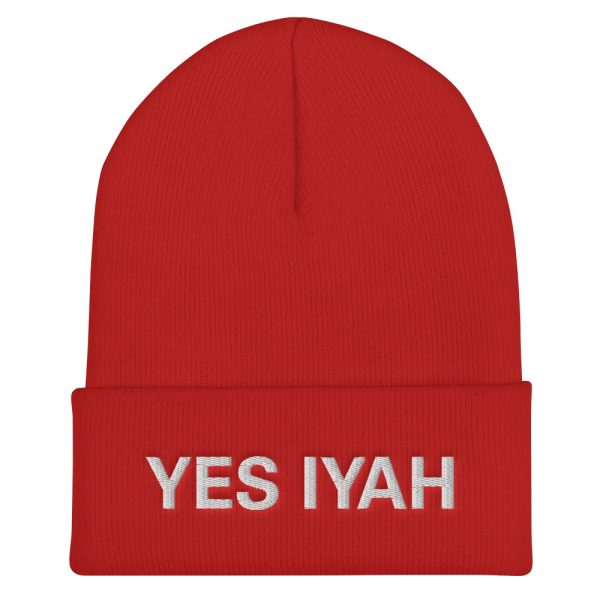 Yes Iyah Red Turbo Acrylic Beanie Rastagearshop Merchandise and Clothing.