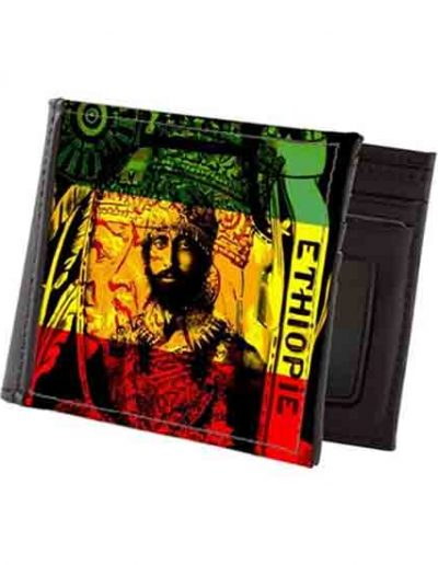 Haile Selassie Leather Wallet Rasta Gear Shop Merchandise