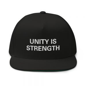 Unity is Strength Flat Bill Cap Black Rasta Gear Shop merchandise hats caps and clothing