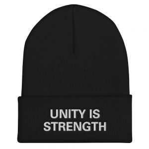 Unity is Strength Beanie Black Rasta Gear Shop Rastafarian Reggae and Jamaican Merchandise Hats Caps