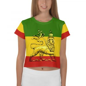 Conquering Lion of Judah All-Over Print Crop Tee. Rasta gear shop Rastafarian, Jamaican merchandise clothing and gear