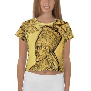 Selassie I The First Rastafarian All-Over Print Crop Tee. Haile Selassie crop top t-shirt at Rastagearshop clothing and Merchandise.