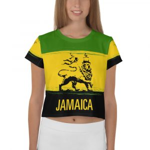 Jamaica Lion All-Over Print Crop Tee. Crop Top T-shirt in Jamaican colors with Lion of Judah Design at Rastagearshop.
