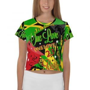 Jamaican Reggae Rasta Party All-Over Print Crop Tee. Reggae Crop Top t-shirt in fun collage design in the Jamaican Rasta Colors.