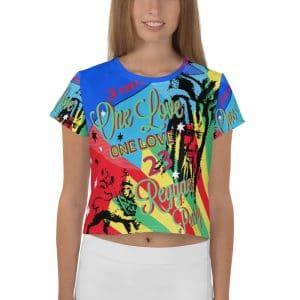 One Love Reggae Rasta Party All-Over Print Crop Tee. One Love Reggae Crop top t-shirt in lovely Caribbean colors and Reggae symbology.