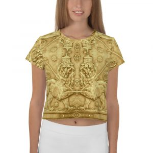 Lion of Judah Ancient Amharic All-Over Print Crop Tee. Crop top T-shirt in Ancient Egyptian design at Rastagearshop.