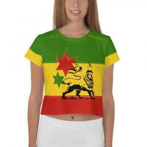 Rasta All-Over Print Crop Tee. Rastafarian colors in this vibrant cute crop top t-shirt. Great with jeans for Summer.