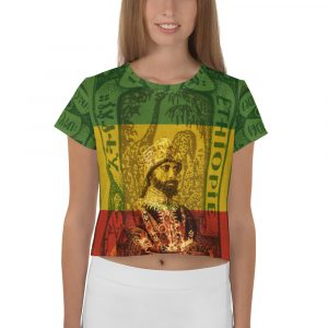 Haile Selassie All-Over Print Crop Tee. Ethiopian African Emperor Selassie I the first on a crop top t-shirt at Rastagearshop.