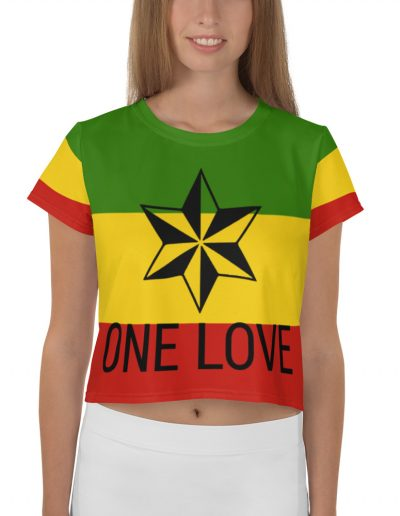 sta One Love Crop Tee. Red Gold green and black design on a crop top t-shirt at Rasta Gear shop jJmaican Reggae clothing.