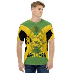 Jamaican Lion Men's T-shirt. Quality Jamaican clothing, dresses, t-shirts, shoes, tops, hoodies and accessories.