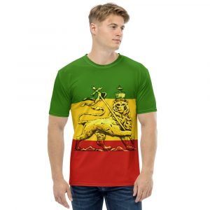 Conquering Lion of Judah Men's T-shirt. Rasta Colors red, gold and green with Lion of Judah Design on all over print t-shirt.