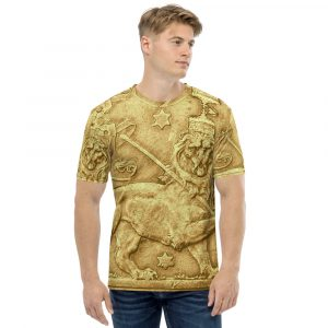 Lion of Judah Ancient Amharic Men's T-shirt. Ancient Egyptian design on all over print t-shirt at Rastagearshop.com