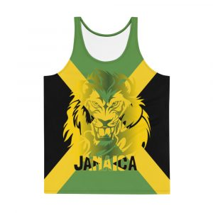 Jamaican Lion Unisex Tank Top at Rastagearshop. Jamaican gear and clothing.