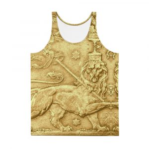 Lion of Judah Ancient Amharic Unisex Tank Top at Rastagearshop clothing merchandise shoes and gear.