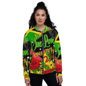 One Love Jamaican Reggae Party all over print Bomber Jacket at Rastagearshop.com Jamaican Rasta Designs and colors on zip up bomber jacket.