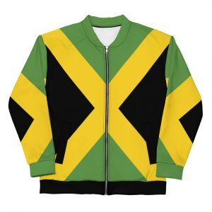 Jamaican Lion Unisex Bomber Jacket at Rasta Gear Shop Merchandise Clothing and accessories.