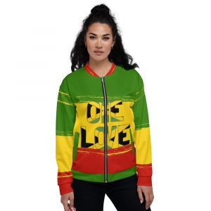 One Love Unisex Bomber Jacket at Rastagearshop. Rastafarian clothing and gear