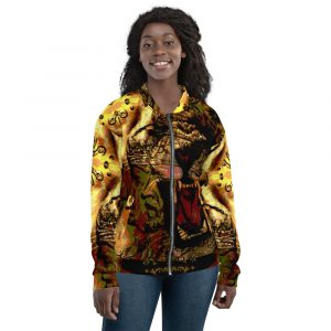 Roaring Lion Unisex Bomber Jacket. Quality original Jamaican Rasta and Reggae jackets, hoodies, caps, dresses and tanks.