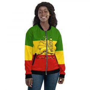 Conquering Lion of Judah Unisex Bomber Jacket. Rasta Jamaican, Reggae jackets, hoodies, t-shirts and tanks.