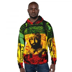 Haile Selassie Natural Mystic all over print rasta hoodiie at Rasta Gear Shop