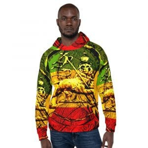 Lion of Judah Rasta Unisex Hoodie at Rastagearshop. Original Lion of Judah design rasta colors.