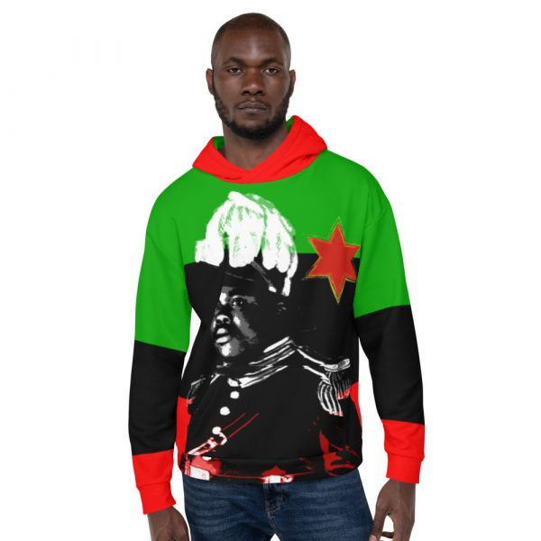 Marcus Garvey Hoodie Rastagearshop all over print design at Rastagearshop.com Pan African colors with Marcus Garvey design on the front.