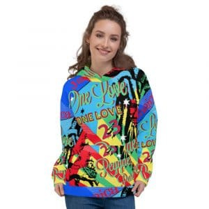 One Love Jamaican Reggae Party Rasta Unisex Hoodie at Rastagearshop. Jamaican One Love designs on pullover hoodie.