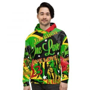 Jamaican Reggae Rasta Party Unisex Hoodie at Rastagearshop.com. Jamaican Reggae and Rasta Designs and colors on pullover hoodie.