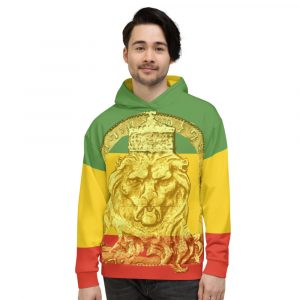 King Lion of Judah Rastsafarian Unisex Hoodie at Rasta Gear Shop. Rasta colors and Lion of Judah design on the front.